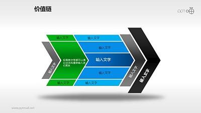 价值链——蓝绿黑灰箭头PPT下载