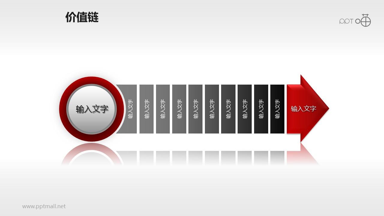 价值链——红黑多段箭头PPT下载