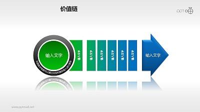 价值链——蓝绿多段箭头PPT下载