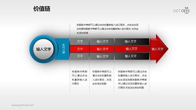 价值链——蓝红黑多段箭头PPT下载
