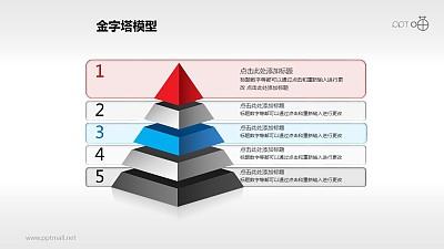 有文字背景的五层金字塔PPT下载