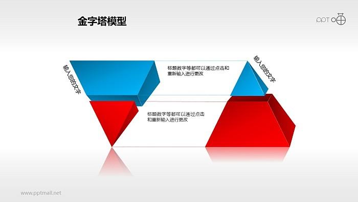 蓝红正反双层金字塔PPT下载_幻灯片预览图1