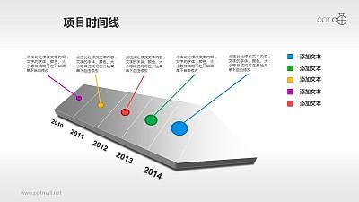 多彩的5部分项目时间线PPT素材