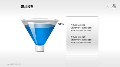一个装了80%高度蓝色液体的漏斗PPT模板