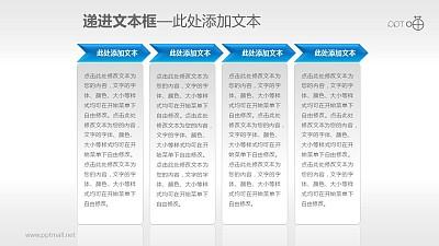 4部分递进关系的文本框PPT素材