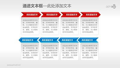两行4部分递进关系的流程图PPT素材