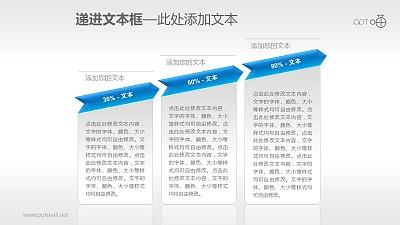 反映增长趋势的3部分文本框PPT素材