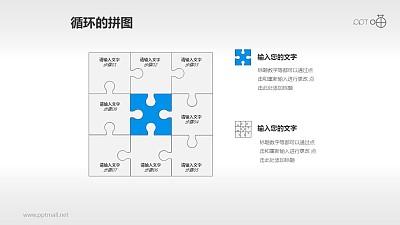 九宫格式拼图流程图PPT模板