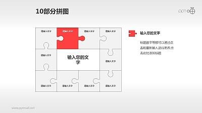 十部分拼图流程图PPT模板