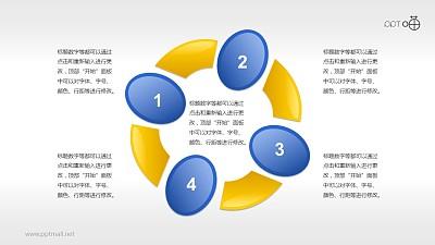 蓝黄图形组合(系列1)循环关系PPT素材