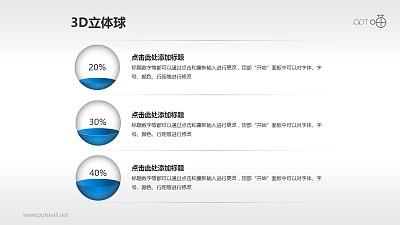 用立体小球表示不同百分比的PPT模板下载