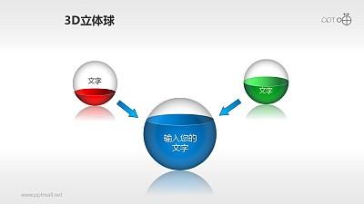 用灌水小球表示2合1关系的PPT素材