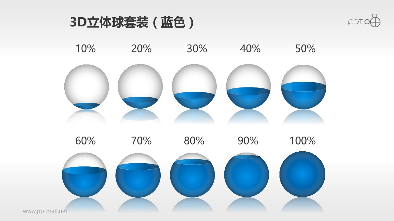 小球PPT模板套装(蓝色)