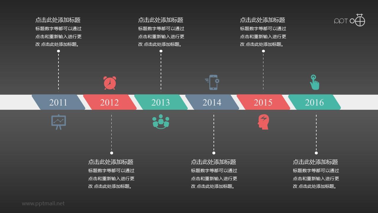 扁平清新简明时间轴【系列-01】PPT模板