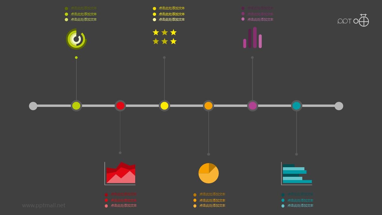 扁平多彩图表时间轴PPT模板下载