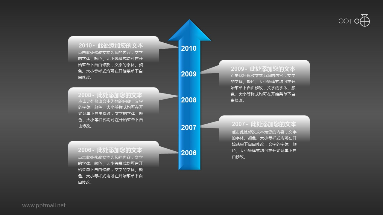 5个部分组成的时间轴PPT素材