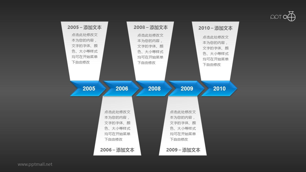 长度为5年(月)的时间轴PPT素材