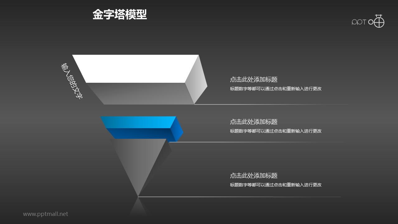 沉稳蓝黑三层倒金字塔PPT模板