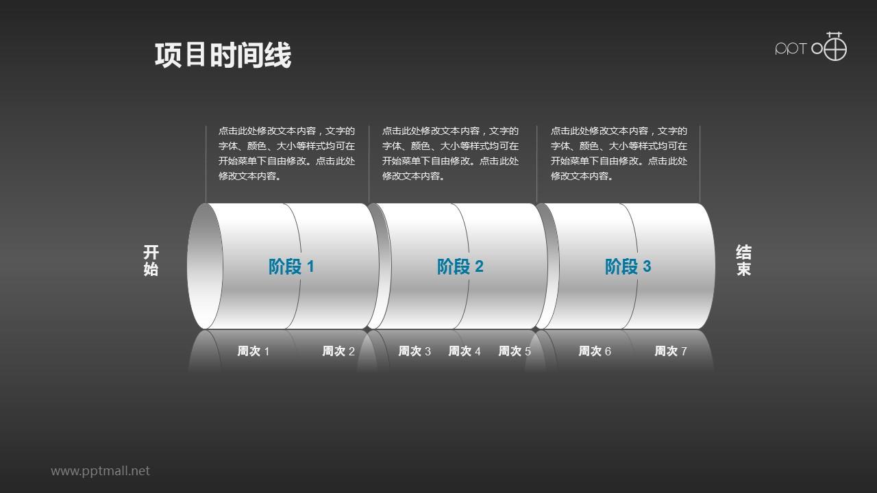 圆筒形的项目进度时间线PPT素材