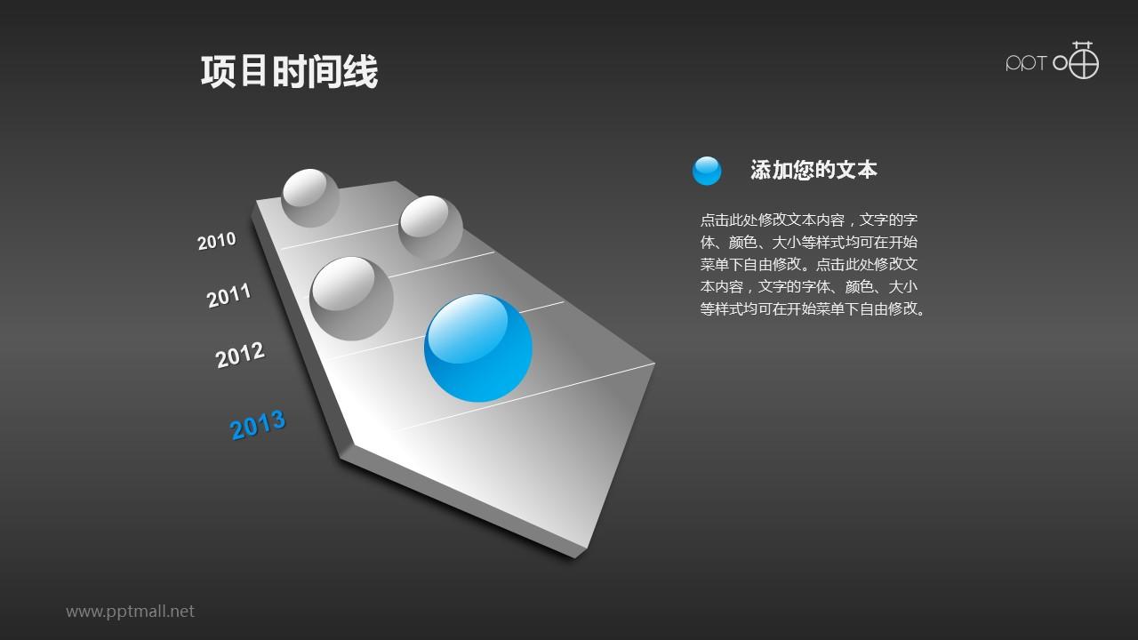 水晶玻璃球装饰的项目时间线PPT素材