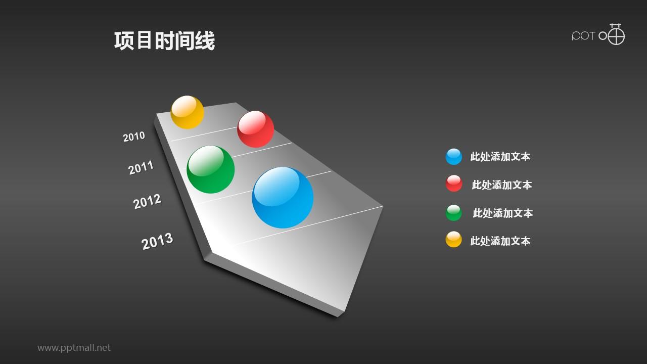 彩色玻璃球装饰的项目时间线PPT素材