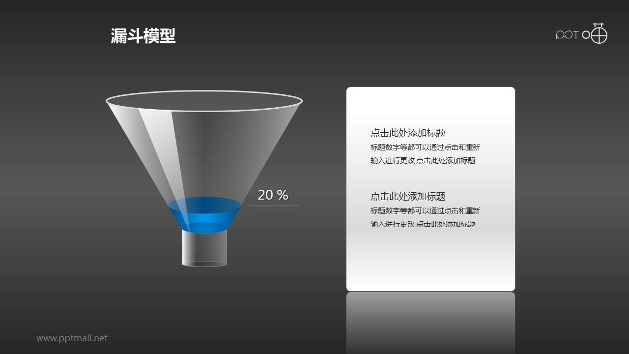 一个装了20%高度蓝色液体的漏斗PPT模板