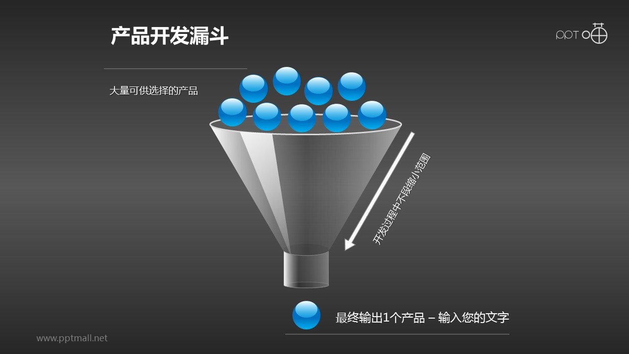 产品开发蓝色小球漏斗PPT素材下载