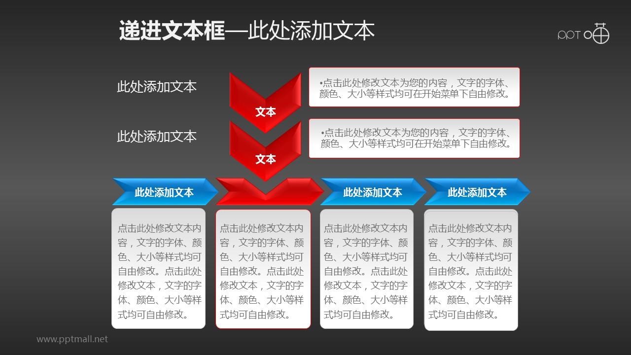 多个部分递进关系的流程图PPT素材