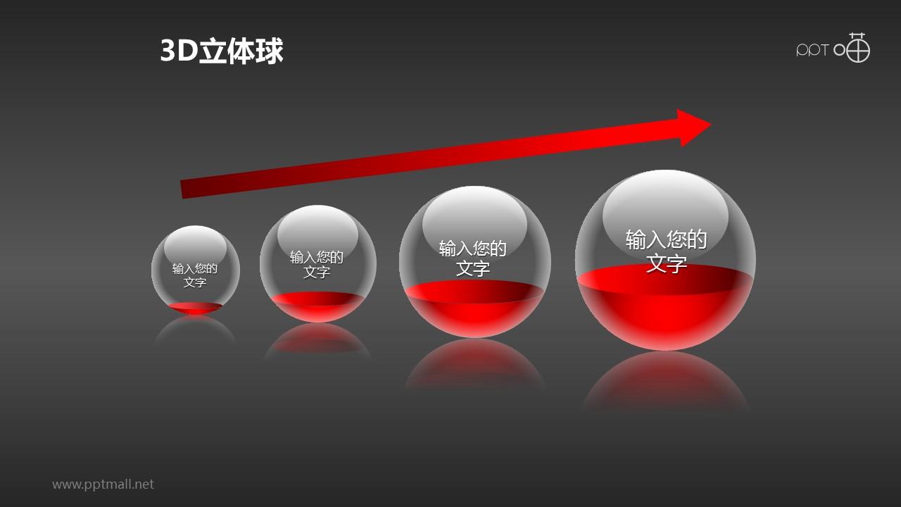 4个递进关系的立体小球PPT模板