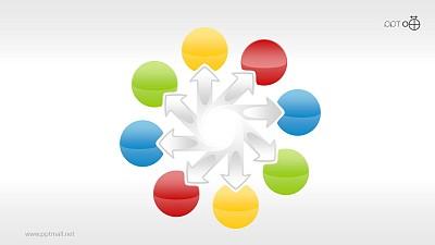 并列关系的彩色玻璃球PPT素材