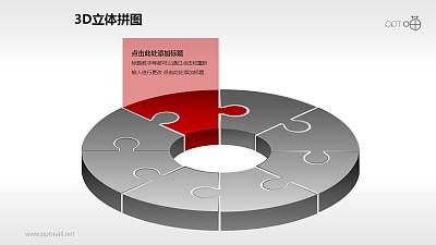 红灰对比拼图风格的圆环图PPT模板