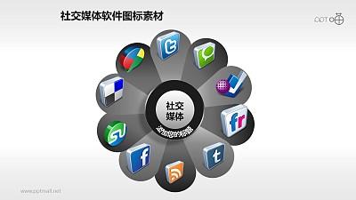 花瓣形排列的立体质感社交媒体图标