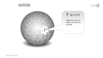 灰色问号地球拼图PPT模板下载
