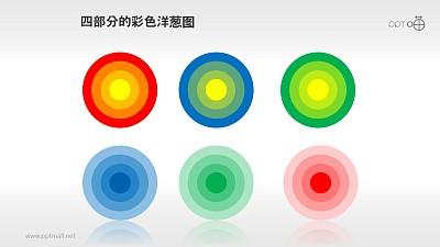 一组彩色四层洋葱图PPT素材