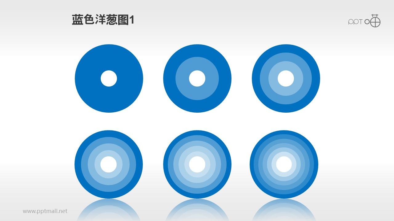 一组不同层数的洋葱图PPT素材(蓝色)