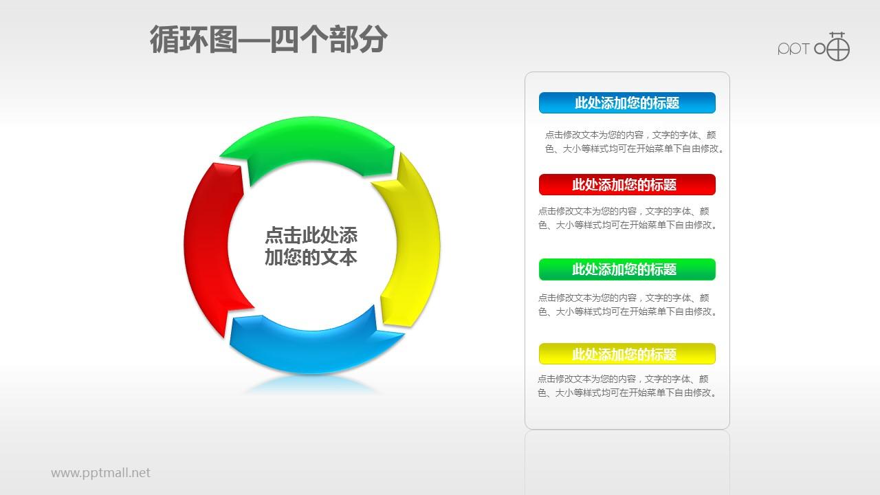 循环图系列PPT素材(4)—四个箭头循环