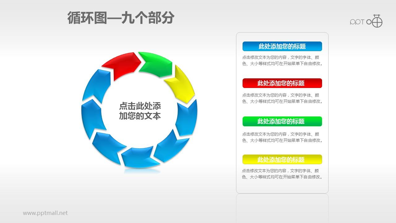 循环图系列PPT素材(9)—九个箭头循环