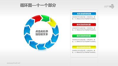 循环图系列PPT素材(11)—十一个箭头循环