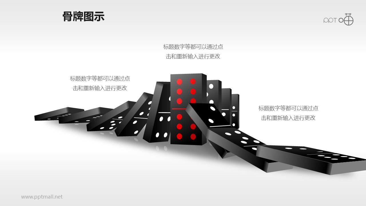 从两侧到中间逐次倒下的骨牌效应PPT模板