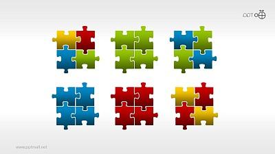 一组6枚彩色质感拼图PPT素材