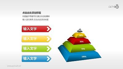 多彩时尚立体金字塔PPT模板下载