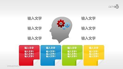表达创意构思的四部分并列PPT素材
