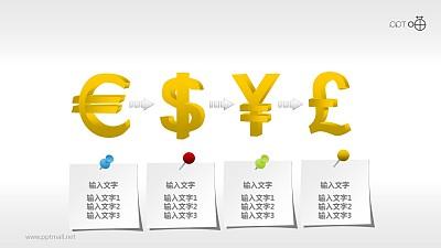 递进四部分立体货币符号PPT素材下载