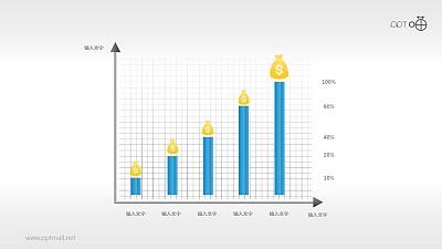 一份与经济相关的柱状图PPT模板下载