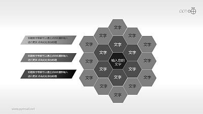 灰黑三层渐变蜂窝状图组PPT模板下载