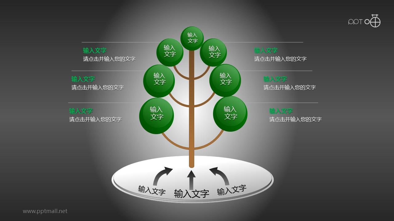 笔直生长的树形图PPT模板