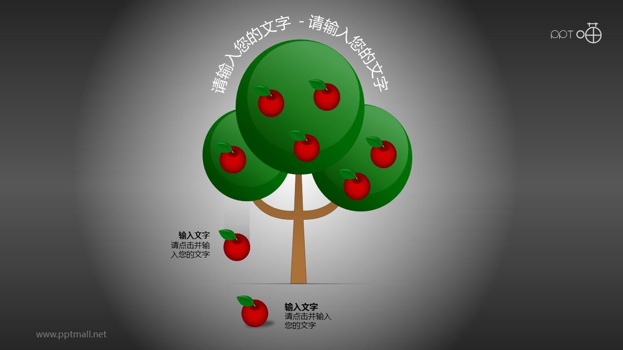 果实自然掉落的树形图PPT模板