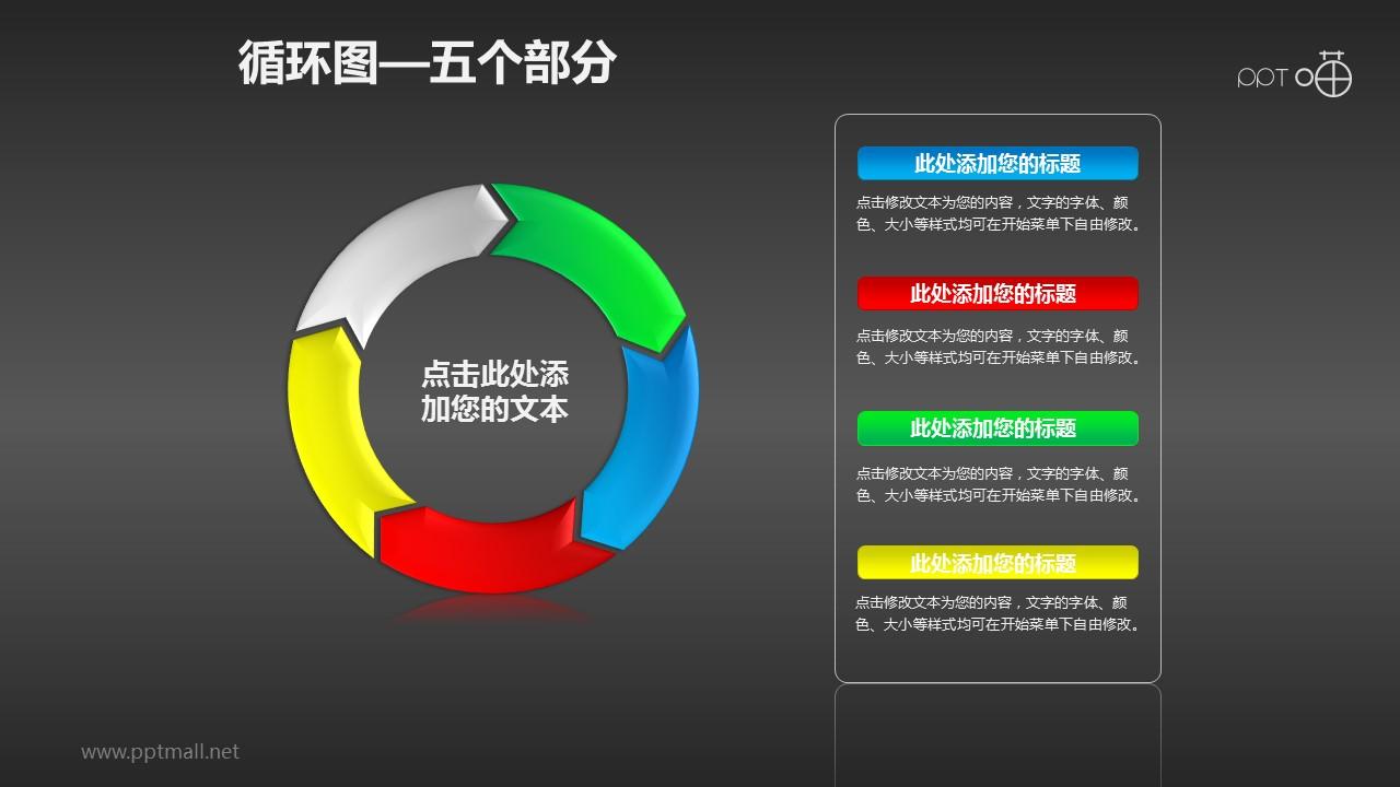 循环图系列PPT素材(5)—五个箭头循环