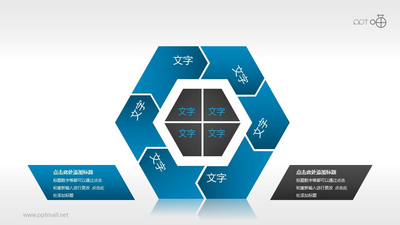 蓝黑内敛六边形循环图组PPT模板下载