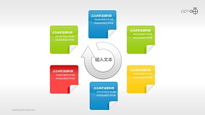 清新质感便贴纸循环图PPT素材(2)